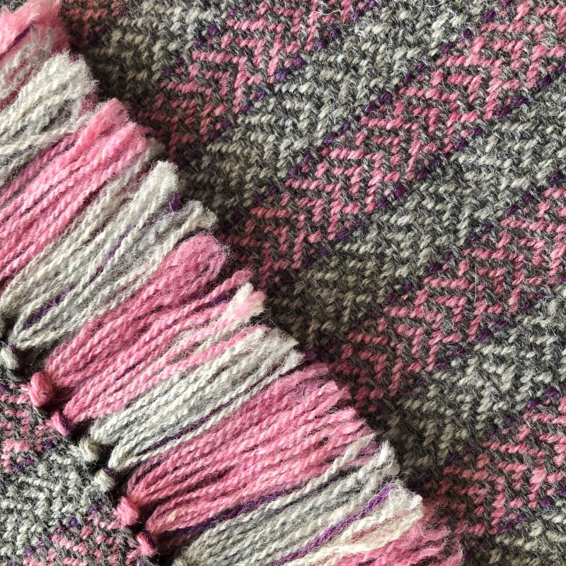 Hearts Scarf Grey and Pinks