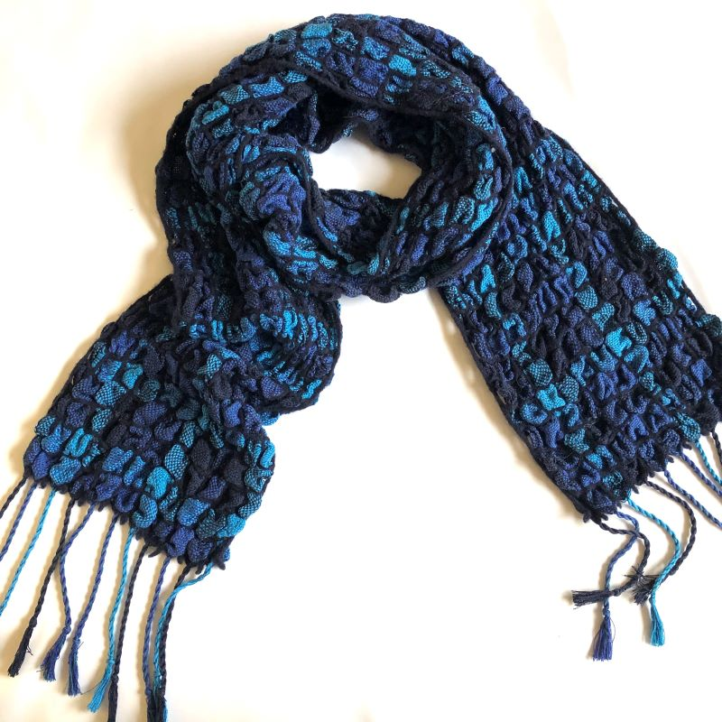 Silk Bubble Up Scarf - blues