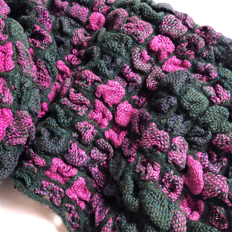 Silk Bubble Up Scarf - Cerise and Grey