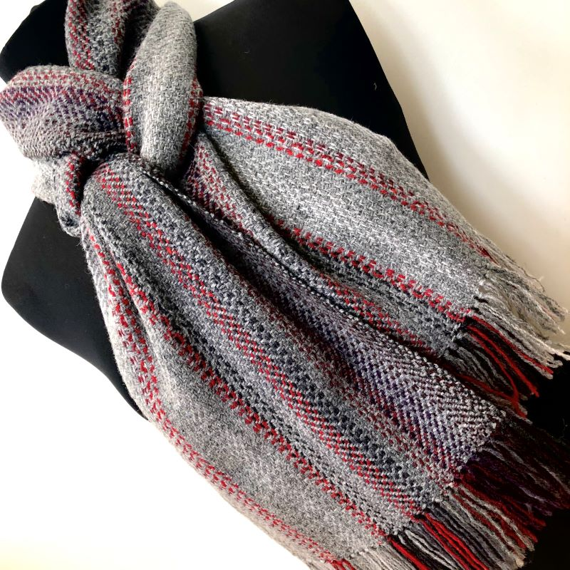 Landscape Scarf - grey/red mix