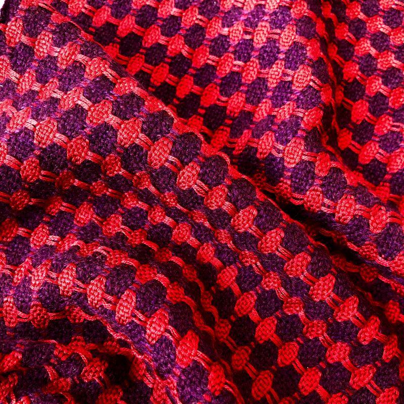 Silk Lattice Scarf - aubergine/red