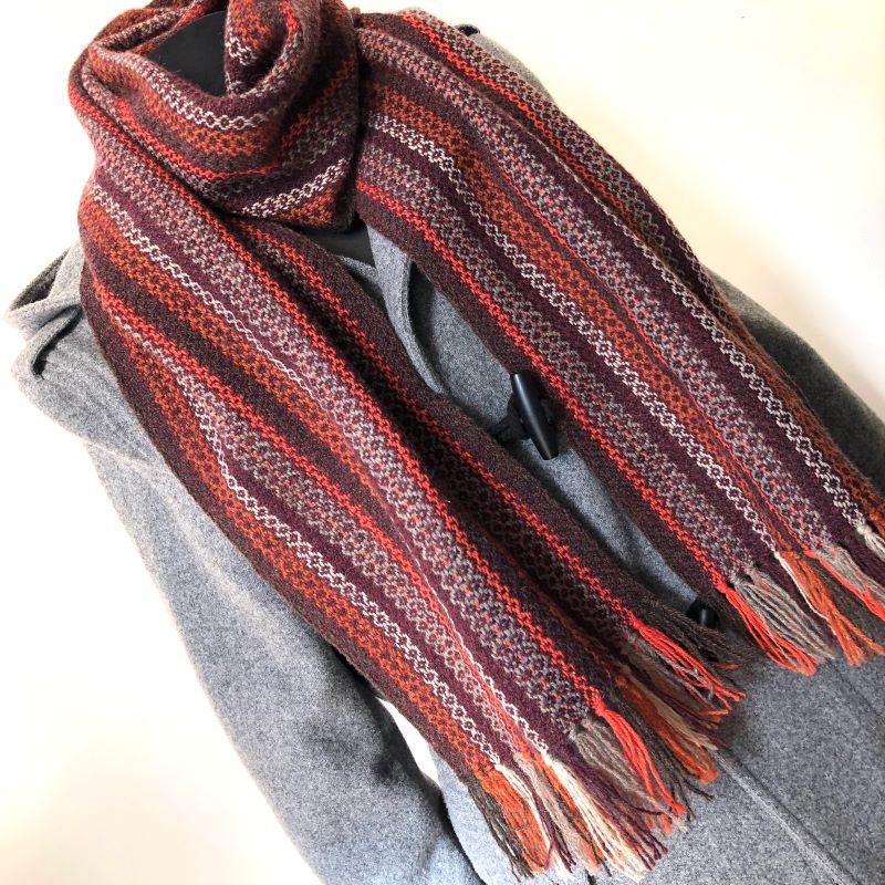 Tapestry Scarf Aubergine/Rust/Greys