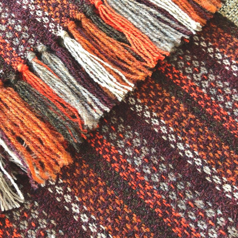 Tapestry Scarf Aubergine/Rust/Greys