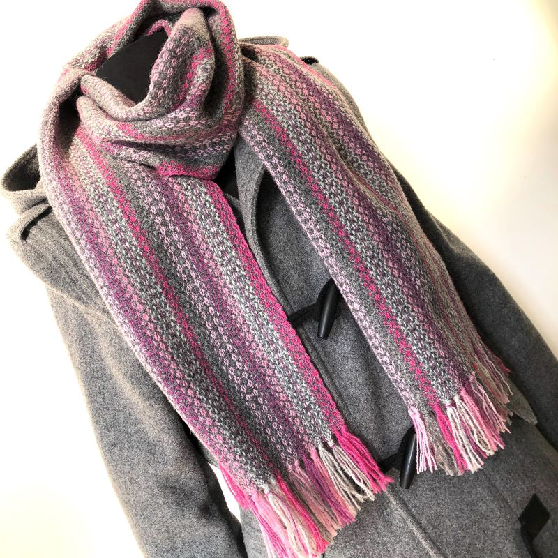 Tapestry Scarf Grey and Pinks